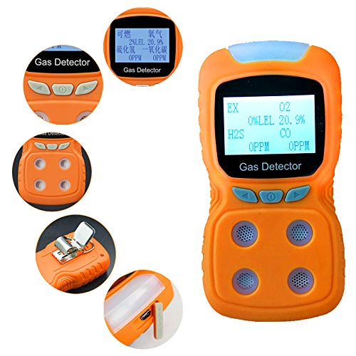 (Portable Gas Detector, Gas Clip 4-Gas Monitor Meter Tester Analyzer(H2S, O2, CO, and LEL), Rechargeable LCD Display Sound Strong ABS with Anti-Slip Grip Rubber | Water Orange)