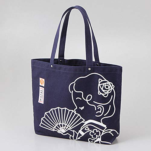 Ichizawa Shinzaburo Canvas Yokohama Takashimaya Original Rose Chan Pattern Tote Bag Size L Navy Blue