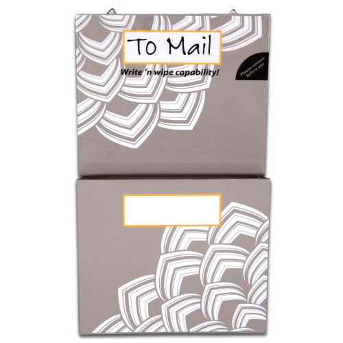 Mead Organizher Hanging Magnetic Storage Pockets, Small, 6 x 10 Inches, Gray with Floral Accents (98048)