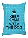 Cheap One Bella Casa Keep Calm and Walk The Dog Outdoor Bed, 30 by 40-Inch, Aqua Mini Dots