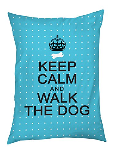 One Bella Casa Keep Calm and Walk The Dog Outdoor Bed, 30 by 40-Inch, Aqua Mini Dots