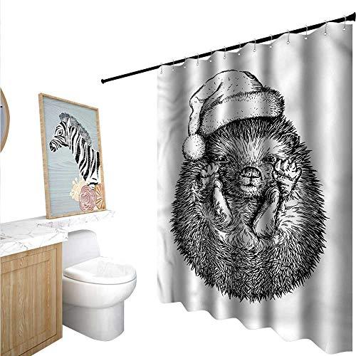 BlountDecor Hedgehog Shower Curtains Fabric Extra Long Winter Attire Hat 72