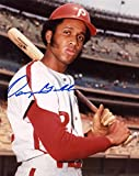 OSCAR GAMBLE PHILADELPHIA PHILLIES SIGNED BAT POSE 8X10 PHOTOS W/COA