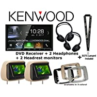 Kenwood Excelon DDX9905S 6.75 HD Screen DVD Receiver with Apple CarPlay and Android Auto with Two Concept Chameleon BSS-705 7 LCD Headrest and Two Concept CDC-IR10 Headphones and a SOTS Lanyard