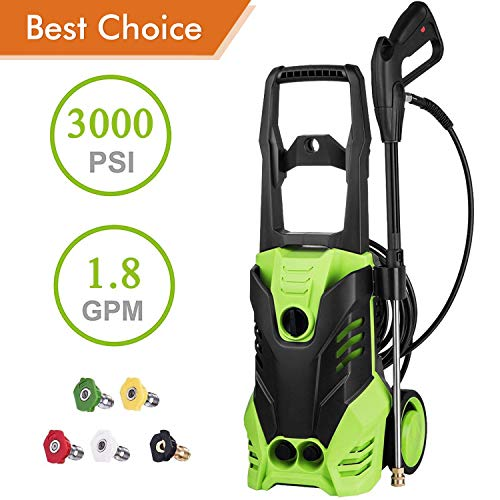 PaPafix 3000 PSI High Pressure Washer Electric Power Washer, 1.80 GPM 1800W Professional Washer Cleaner Machine with 5 Quick-Connect Spray Nozzles and Rolling Wheels, Green