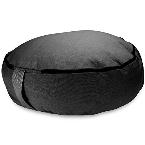 Crown Sporting Goods 18'' Round Heavy Canvas Zafu Meditation Cushion (Black) by Crown Sporting Goods