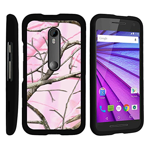 Motorola Moto G 3rd Gen Phone Case, Perfect Fit Cell Phone Case Hard Cover with Cute Design Patterns for Motorola Moto G (2015) XT1540, XT1548 by MINITURTLE - Pink Hunter Camouflage