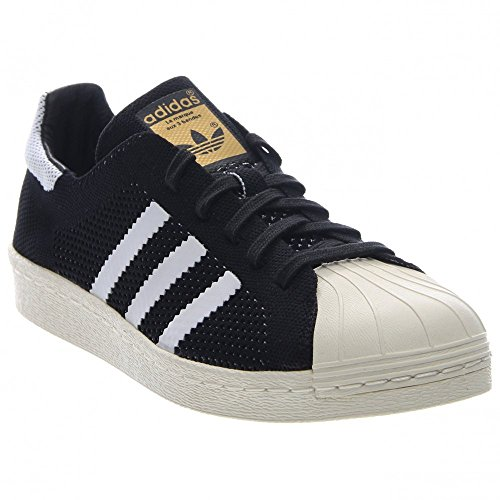 Superstar 80 de Mens Primeknit En Negro / blanco por Adidas, 9,5 Black / White