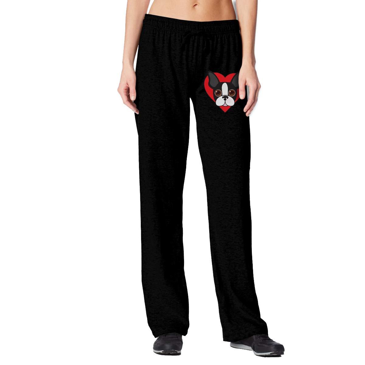 Women's Boston Terrier in Heart Open Bottom Sweatpants with Pockets Workout Pants