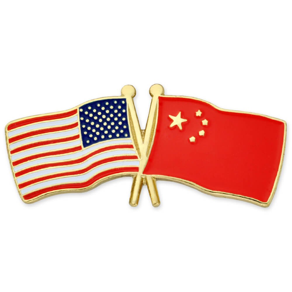 PinMart's USA and China Crossed Friendship Flag Enamel Lapel Pin
