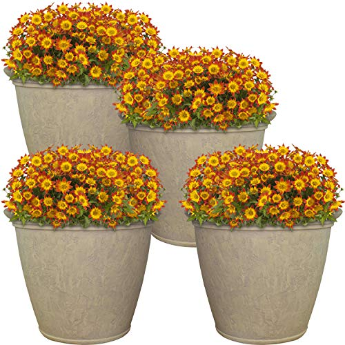 Sunnydaze Anjelica Flower Pot Planter, Outdoor/Indoor Unbreakable Double-Walled Polyresin with UV-Resistant Pebble Grey Finish, Set of 4, Large 24-Inch Diameter ()