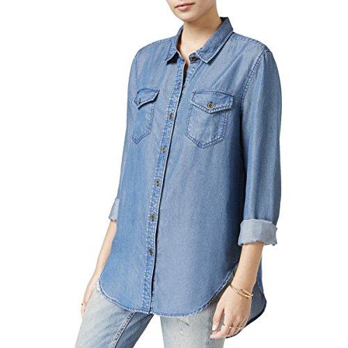 VELVET HEART Womens Denim Long Sleeves Button-Down Top Blue (Heart Denim)