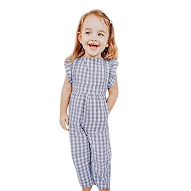 5fea17b6c Longra 2019 New Baby Jumpsuits - Toddler Kids Girl Plaid Flouncing ...