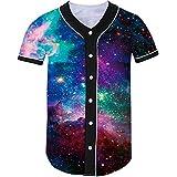 Idgreatim Men Baseball Shirt 3D Printed Galaxy Short Sleeve Hip Hop T-Shirt XXL