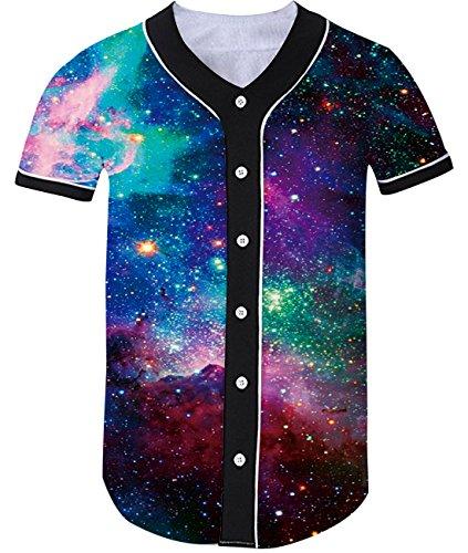 Idgreatim Juniors Men 3D Graphic Galaxy Baseball Shirt Button Down Arc Hem Short Sleeve Jersey Tee Shirts ()