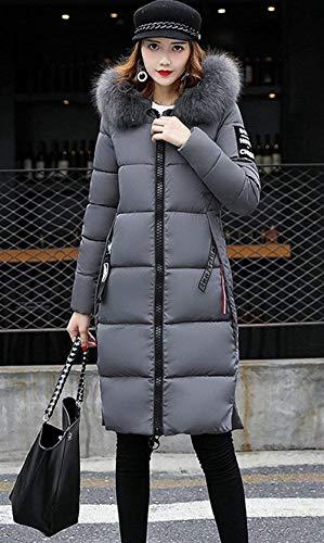 Fit Calda Donna Puro Cappotto Trapuntato Elegante Lunga Casual Slim Con Giacca Imbottitura Colore Ragazza Manica Fashion Invernali Outerwear Cerniera Grau Cappuccio Autunno Piumino 0xOU0nRrq
