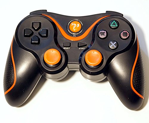 PomeMall Wireless Remote PS3 Controller Gamepad for use with PlayStation 3 (Black/Orange)