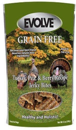 Evolve Grain Free Turkey, Pea, & Berry Jerky Bites 12 oz (2 Pack)