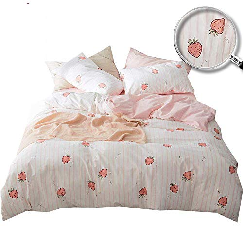 XUKEJU Cute Fruit Duvet Cover with Two Pillowcases Fun Funny Patterns Printing Bedding Set 3 pcs for Girls/Boys Strawberry Twin