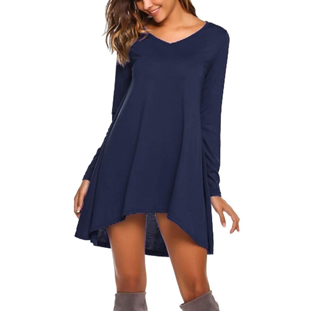 Buy aliveGOT Women'S Solid Long Sleeve V Neck Casual Loose