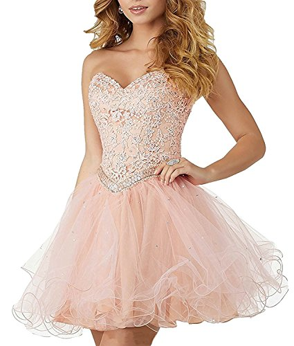 Mingxuerong Sexy short Sweetheart Lace Applique Fluffy Prom Dresses Beading Homecoming Ball Gowns Blush US 2 (Sweetheart Neckline Beadings)