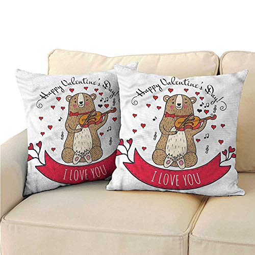 (RuppertTextile Valentines Day Couple Pillowcase Bear and Violin Cushion W19 x L19)