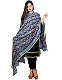 Decorative Dupatta Phulkari Embroidered Blue Georgette Long Scarf Hijab Neck Wrap Stole For Girls Women's