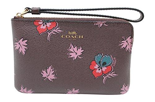 Coach Wildflower Print Corner Zip Wristlet, Oxblood by Coach