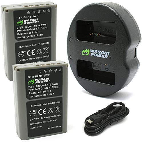 Wasabi Power Battery (2-Pack) و Dual USB Charger for Olympus BLN-1، BCN-1 and Olympus OM-D E-M1، E-M5، Pen E-P5