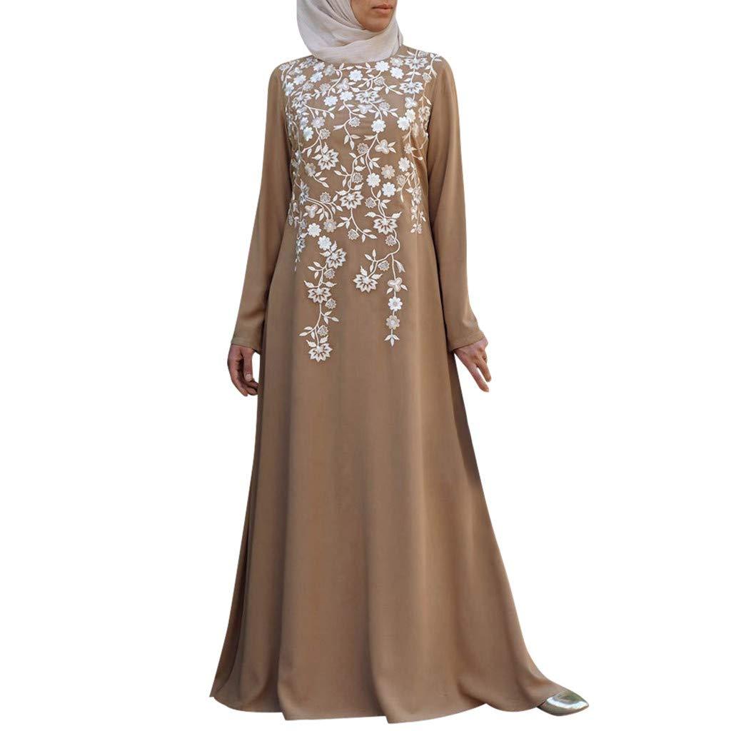 TIFENNY Long Sleeve Muslim Robes for Women Muslim Abaya Long Dress Floral Printed Vintage Kaftan Islamic Maxi Dresses Tops Khaki