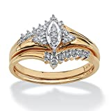 White Diamond 10k Yellow Gold 2-Piece Marquise Bridal Ring Set (.10 cttw, GH Color, I3 Clarity)