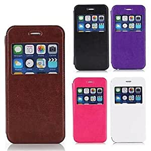 LZX Horse Grain Open the Window PU Leather Full Body Case for iPhone 6 Plus , White