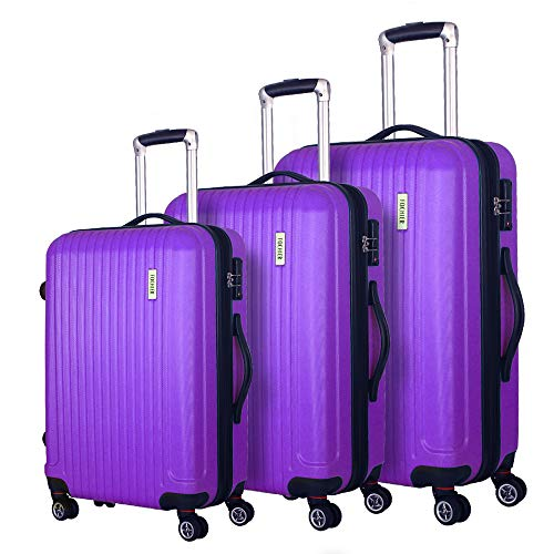 """Coomee Luggage 3 Piece set, Expandable Suitcase with TSA Lock, ABS Spinner Hardshell lightweight (20""""/24""""/28""""), Purple"""