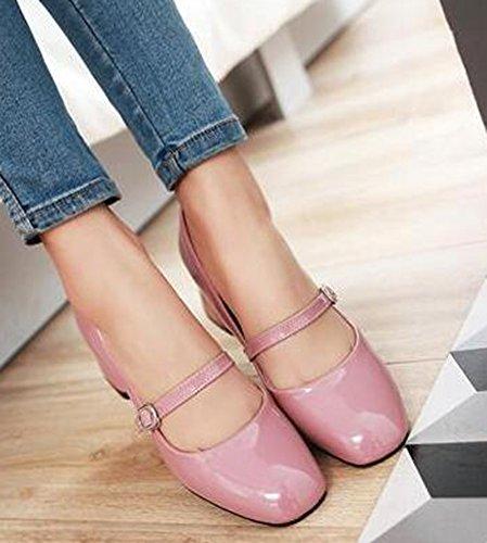 Elastische Vrouwen Halfhoge Hak Met Gesp In Mary-jane-schoenen Roze