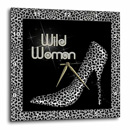 3dRose Doreen Erhardt Animal Print Collection - Silver Cheetah Print Wild Woman Stiletto Pump and Bling - 10x10 Wall Clock (dpp_21802_1)