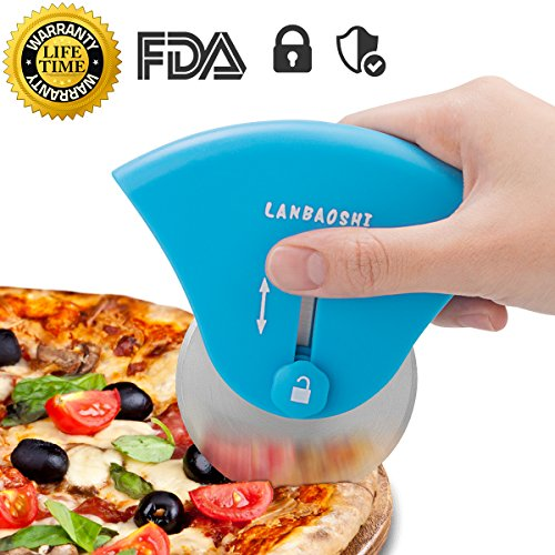 Pizza Cutter Wheel with Protective Telescopic Stainless Steel Blade, Easy Clean Pizza Slicer for Kitchen Chef Pie Waffles Dough Cookies, Sharp Pizza Knife Handle Pizza Scissors Server, Dishwasher Safe
