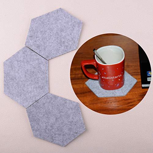 10x Grey Wool Fiber Geometric Hexagon Beer Coffee Cup Hot Drink Fabric Coasters