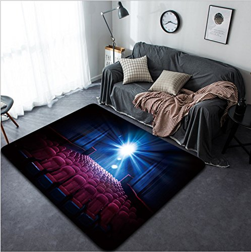 Vanfan Design Home Decorative 257017468 Movie Theater with empty seats and projector High contrast image Modern Non-Slip Doormats Carpet for Living Dining Room Bedroom Hallway Office Easy Clean Footcl