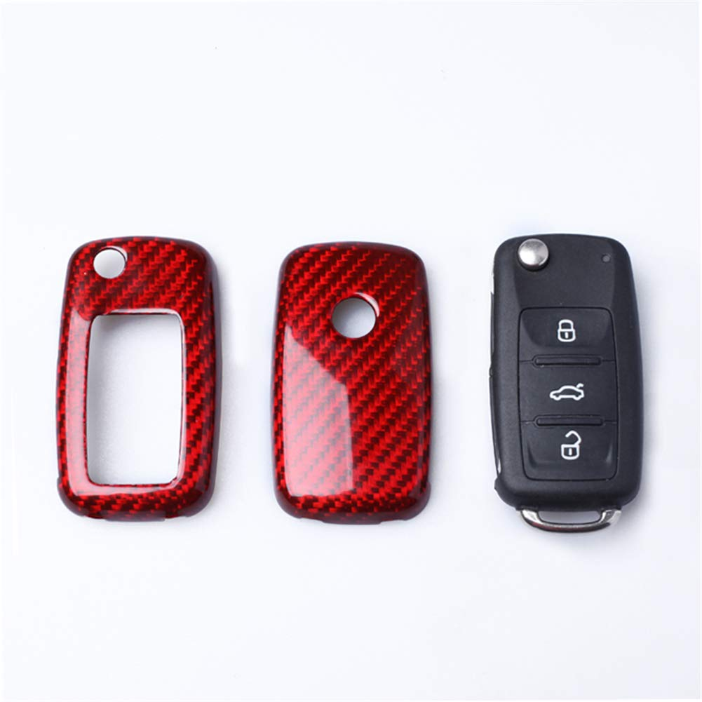 red Topsmart Carbon Fiber Remote Keyless Key Cover Case Shell for for VW Seat Skoda