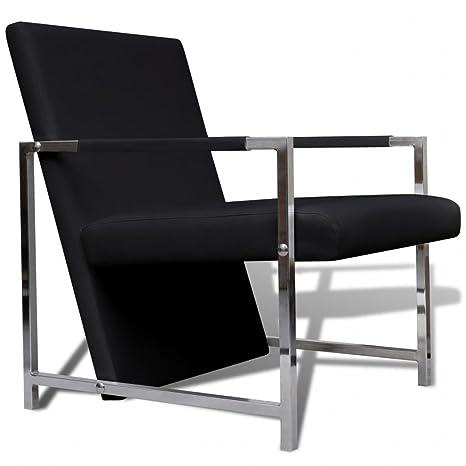 Xinglieu sillón Cubo Negra pies de Cromo sillón de Relax ...