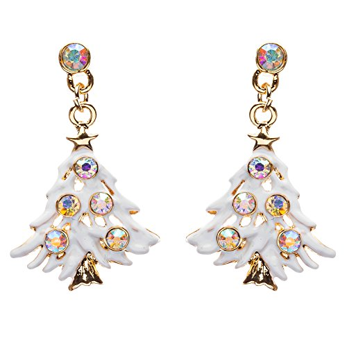(ACCESSORIESFOREVER Women Christmas Jewelry Crystal Rhinestone Colorful Christmas Tree Earrings E799 Multi )