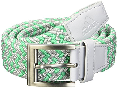 (adidas Golf Men's Braided Weave Stretch Belt, Grey Two/Hi Res Green, Small/Medium)