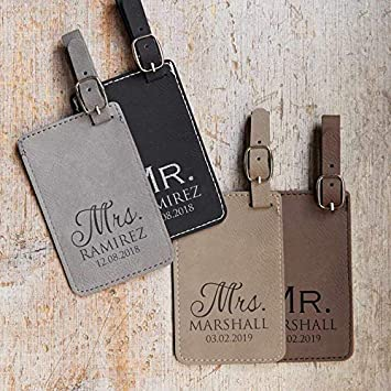Luggage Tags Wedding Gift Luggage Tag with Names Personalized Mr Pair 2 Light Brown /& Dark Brown Personalized Vegan Leather Mr Mrs /& Mrs