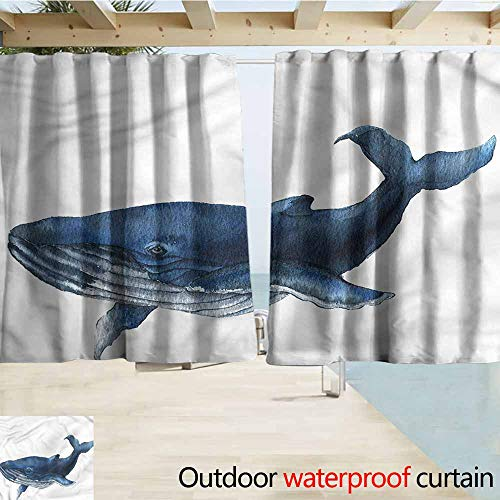 Outdoor Blackout Curtains Whale Aqua Marine Mammal Wildlife Blackout Draperies for Bedroom W55x63L Inches ()