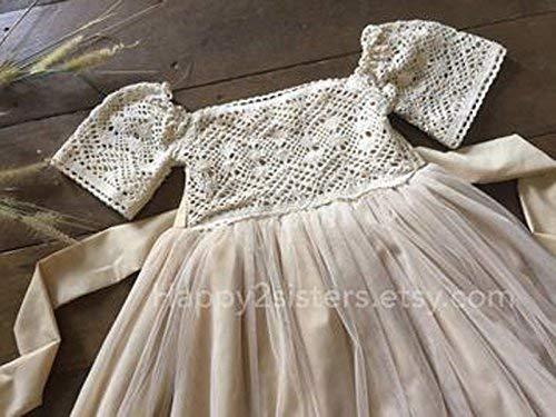 5271955ff35 Amazon.com  Rustic flower girl dress Country flower girl dress Boho girl  dress  Handmade
