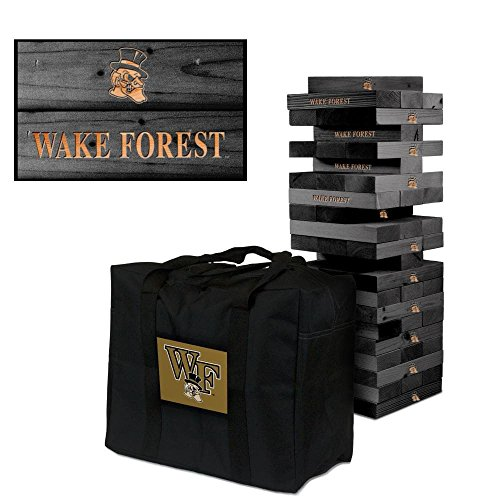 NCAA Wake Forest Demon Deacons Wake Onyx Stained Giant Wooden Tumble Tower Game, Multicolor, One Size by Victory Tailgate