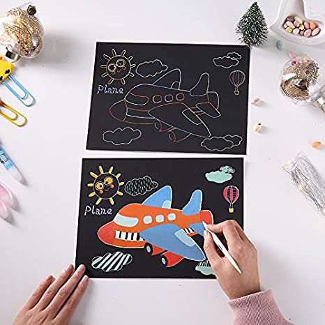 Pobec Scratch Art Papers Scratch Off Black Paper with Stylus,Travel Activity or Kids Both Sides Available Rainbow Sketch Pads Traffic Tools Series