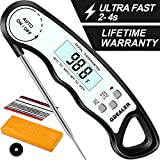 GDEALER Waterproof Digital Instant Read Meat Thermometer with 4.6' Folding Probe Calibration Function for Cooking Food Candy, BBQ Grill, Smokers