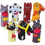 Fantoches Animais Domésticos Feltro 7 Personagens Embalagem Plástico Carlu Brinquedos
