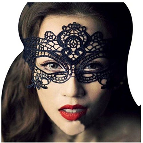 Outop Sexy Lace Eyes Mask for Masquerade Party Fancy Dress Black Plus Bag (Lady Costume Mask)